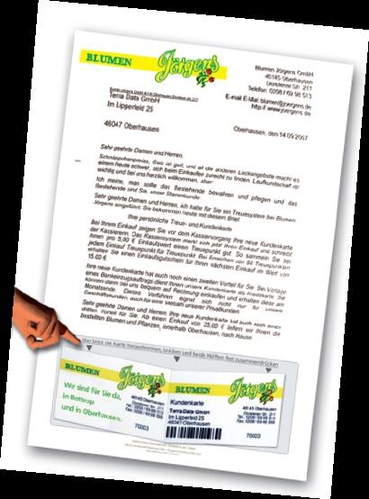 Briefbogen mit integrierter Kundenkarte